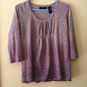 Women's  Axcess coral print 3/4 sleeve casual top